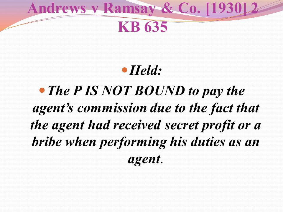 Andrews v Ramsay & Co. [1930] 2 KB 635
